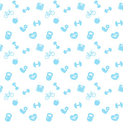 seamless pattern fitness blue icons