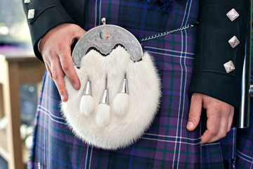 Tradicional Scottish male ceremonial outfit.