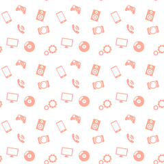 seamless pattern media red icons