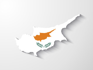 Cyprus map with shadow effect