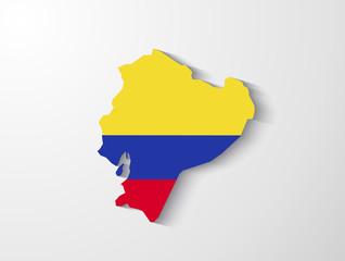 Ecuador map with shadow effect