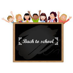 Illustration of children school and  blackboard