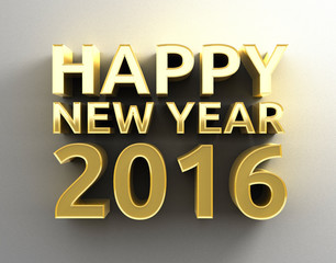 Happy New Year 2016 Gold 3D design template background