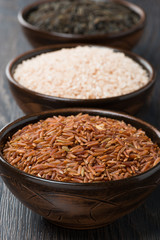 Assorted rice in bowl, close-up