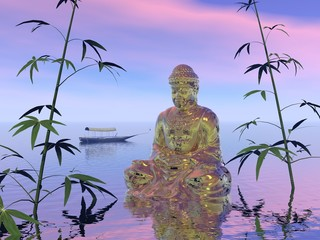 Buddha on the water - 3d render