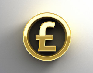 Gold 3D Pound sign on the wall background with soft shadow. Mone