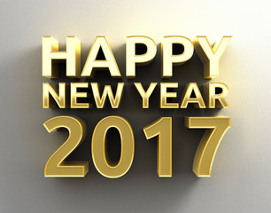 Happy New Year 2017 Gold 3D design template background