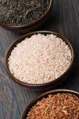 Assorted rice in bowl, top view