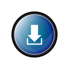Download glossy vector icon, blue button