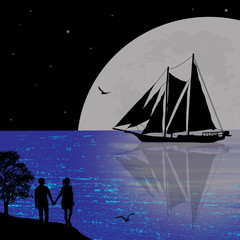 Night seascape with boat and couple silhouettes