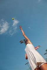 Atracttive Tennis Female Serving