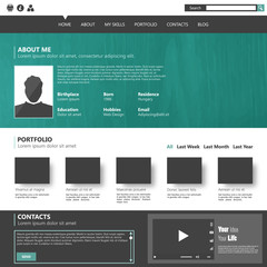 Modern flat website template for personal portfolio, design Eps
