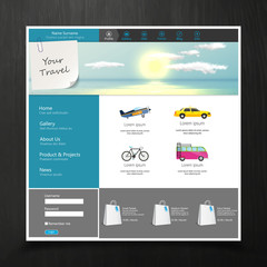 Tourism Website Template with travelling concept. Vector EPS 10.