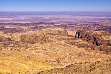 General view of the region of the historic city Petra in Jordan