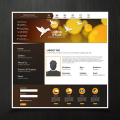 Brown Bokeh style Website Template Design Eps 10 Vector