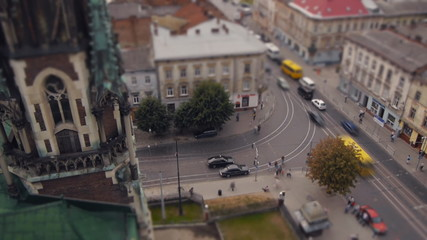 View of the intersection in the city of Lviv (timelapse)
