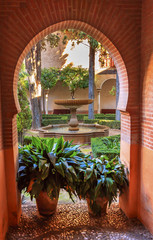 Alhambra Arch Courtyard Fountain Patio Granada Andalusia Spain