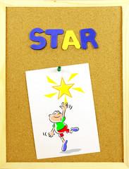 Star word on a corkboard