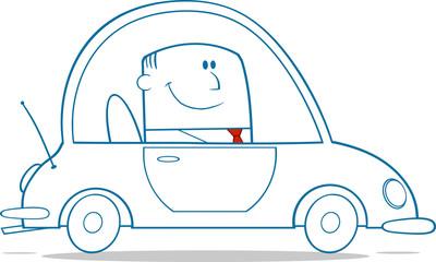 Businessman Driving Car To Work Monochrome
