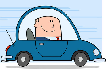Businessman Driving Car To Work On Background