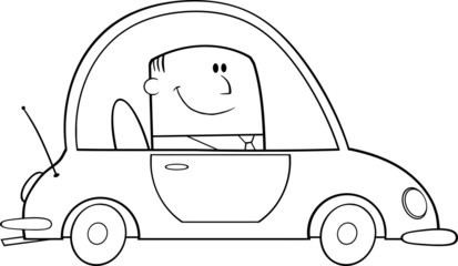 Black And White Businessman Driving Car To Work