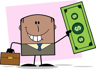 African American Businessman Holding A Dollar Bill