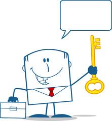 Businessman Holding A Golden Key Monochrome With Speech Bubble