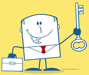 Businessman With Briefcase Holding A Big Key Monochrome