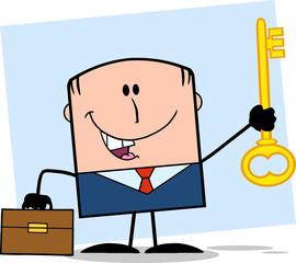 Happy Businessman With Briefcase Holding A Golden Key