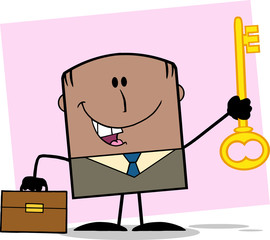 African American Businessman Holding A Golden Key