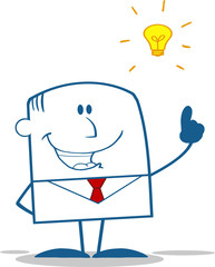 Businessman With A Bright Idea Monochrome Cartoon Character
