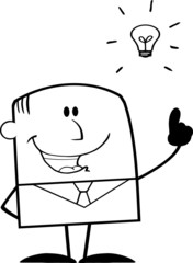 Black And White Businessman With A Bright Idea Cartoon Character