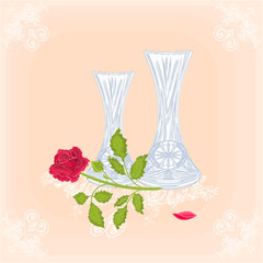 Vases and rose as engraving vitage vector