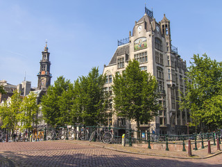 Amsterdam, Netherlands. A typical urban view with old buildings