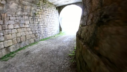 long parabolic tunnel inside the Fort of World War I