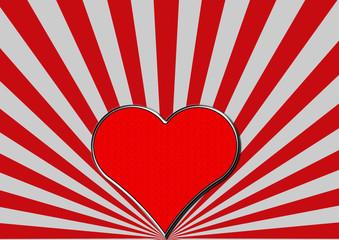 Rotes Chromherz auf rot silbernen Fächerstrahlen