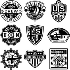 Nautical badges vector collection in black and white