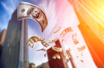 Falling Money $100 Bills