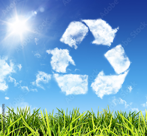 canvas print picture cloud-shaped icon recycling
