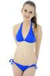 Teenager schlank in blauem Bikini