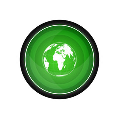 Globe vector icon, green button