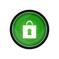 Lock glossy vector icon, green button