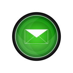 Envelope glossy vector icon, green button