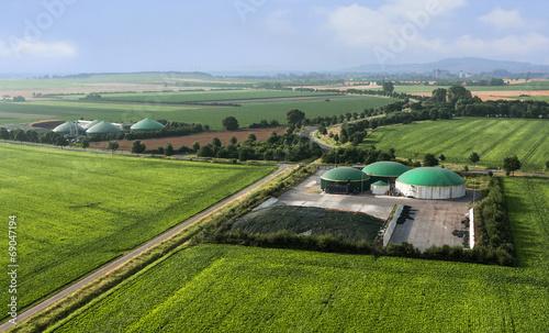 Spoed canvasdoek 2cm dik Luchtfoto Moderne landwirtschaftliche Biogasanlagen