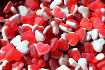 heart shaped gum candies background