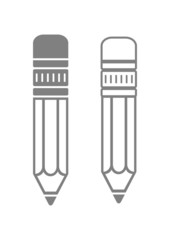 Grey pencil icons on white background