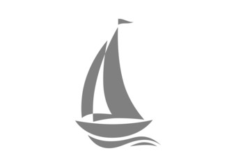 Grey sailboat icon on white background