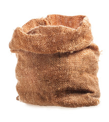 Open small sack, isolated on white background