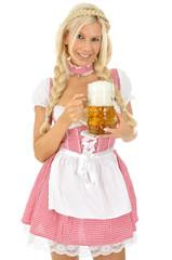 Frau im Dirndl mit Maß Bier
