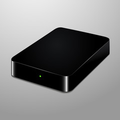Realistic illustration of a black external hard drive